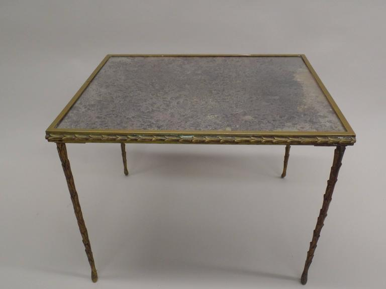 French Mid-Century 3 Part Gilt Bronze Faux Bamboo Coffee Table by Maison Baguès 6
