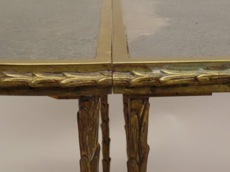 French Mid-Century 3 Part Gilt Bronze Faux Bamboo Coffee Table by Maison Baguès 7