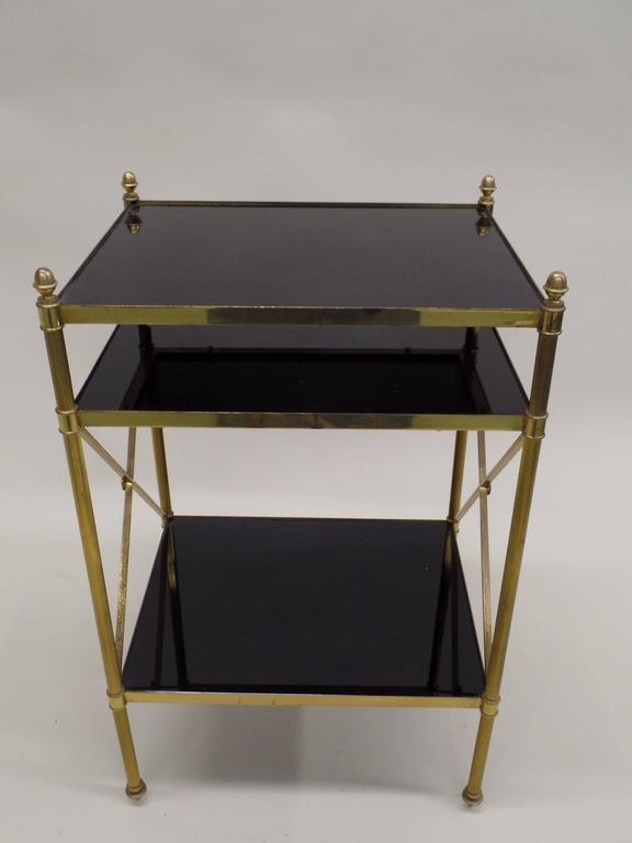 Pair of French Brass and Black Onyx X-Frame Side Tables by Maison Jansen 2