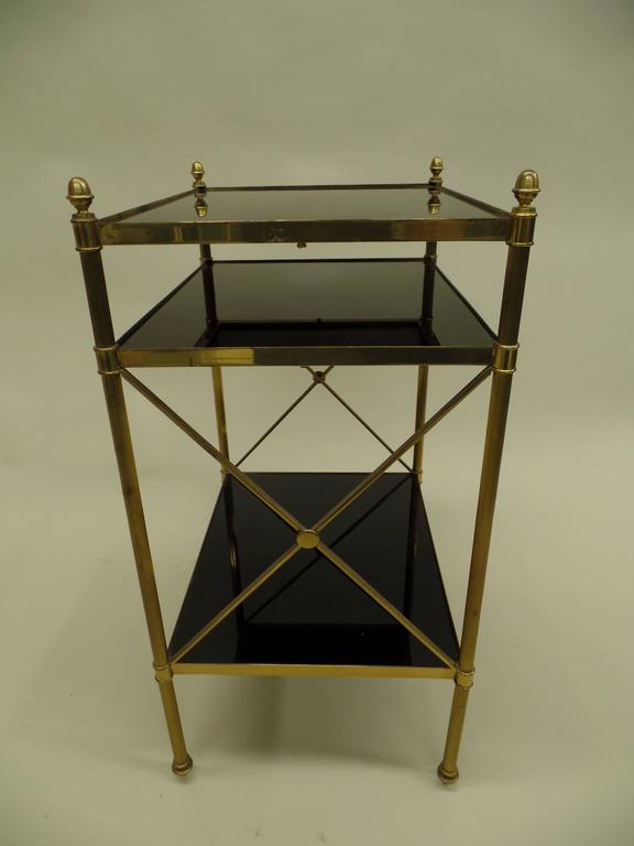 Mid-Century Modern Pair of French Brass and Black Onyx X-Frame Side Tables by Maison Jansen For Sale