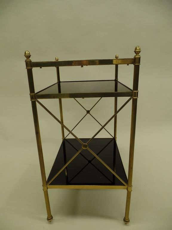 Pair of French Brass and Black Onyx X-Frame Side Tables by Maison Jansen In Good Condition For Sale In New York, NY