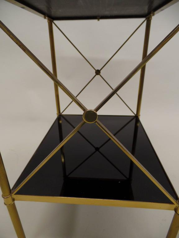 Pair of French Brass and Black Onyx X-Frame Side Tables by Maison Jansen 5