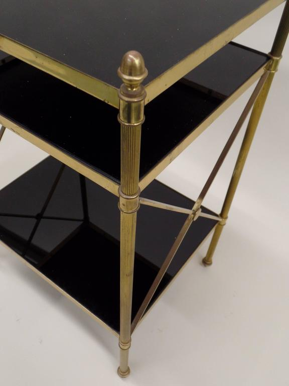Pair of French Brass and Black Onyx X-Frame Side Tables by Maison Jansen For Sale 1