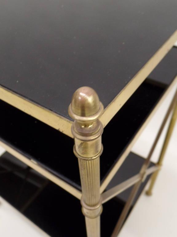 Pair of French Brass and Black Onyx X-Frame Side Tables by Maison Jansen 7