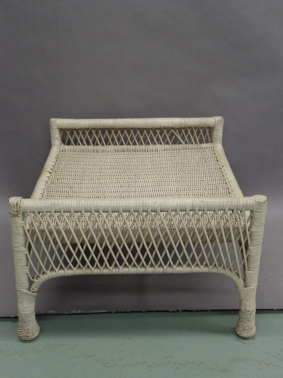 Pair French Mid-Century Modern Wicker Stools, Benches or Ottoman In Good Condition For Sale In New York, NY