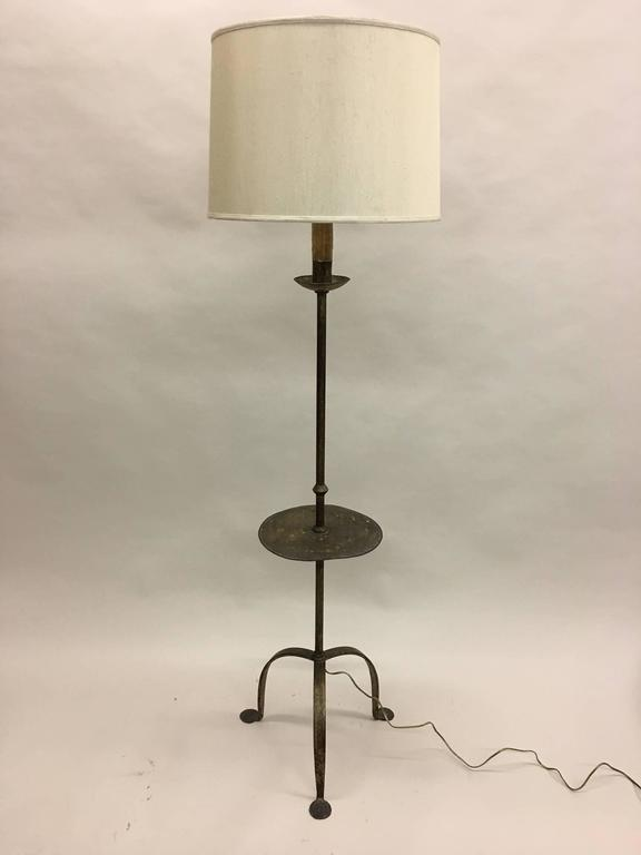 Mid-Century Modern Sculptural French, 1940s Gilt Iron Floor Lamp with Integrated Gueridon For Sale