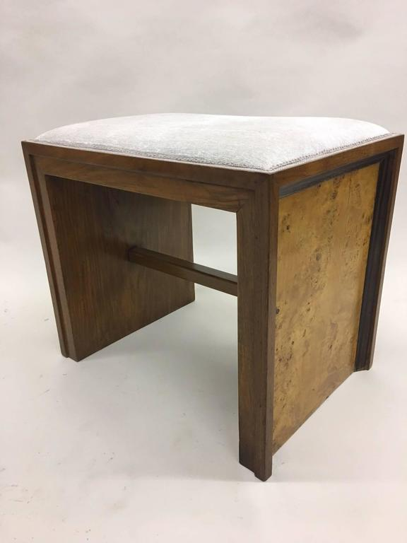 Elegant pair of Italian Mid-Century benches or stools by a Italian Rationalist architect, circa 1930. The pieces feature a sober rectangular design but are countered with an elegant combination of various woods including white birch, elm and