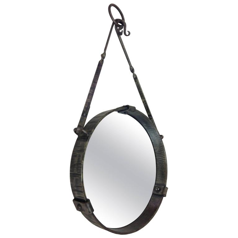 French Mid-Century Modern Round Wrought Iron Mirror, Attr. Paul Kiss, circa 1930