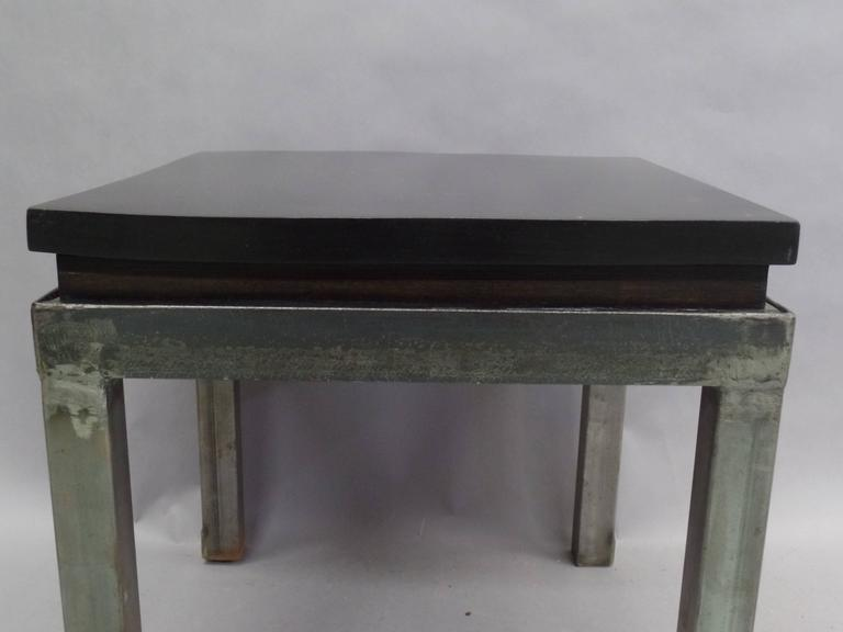 Pair of French Modern Craftsman Steel and Mahogany Benches or Side Tables, 1930 6