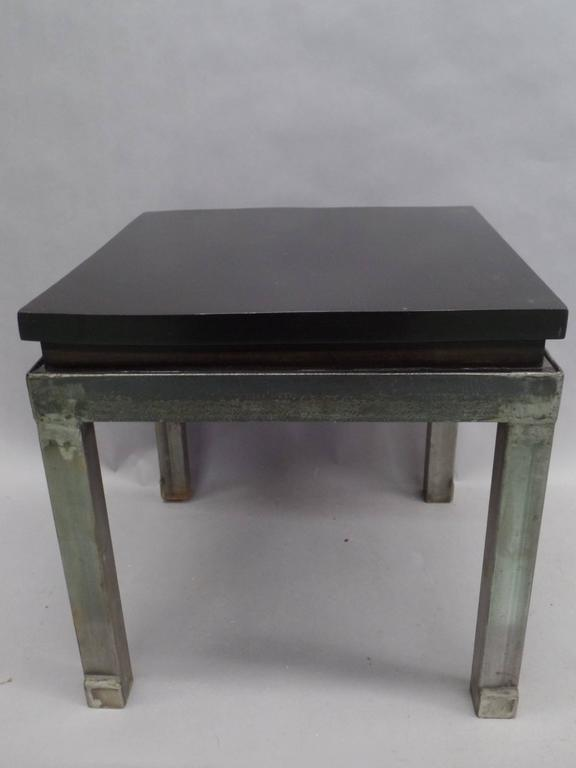 Pair of French Modern Craftsman Steel and Mahogany Benches or Side Tables, 1930 2