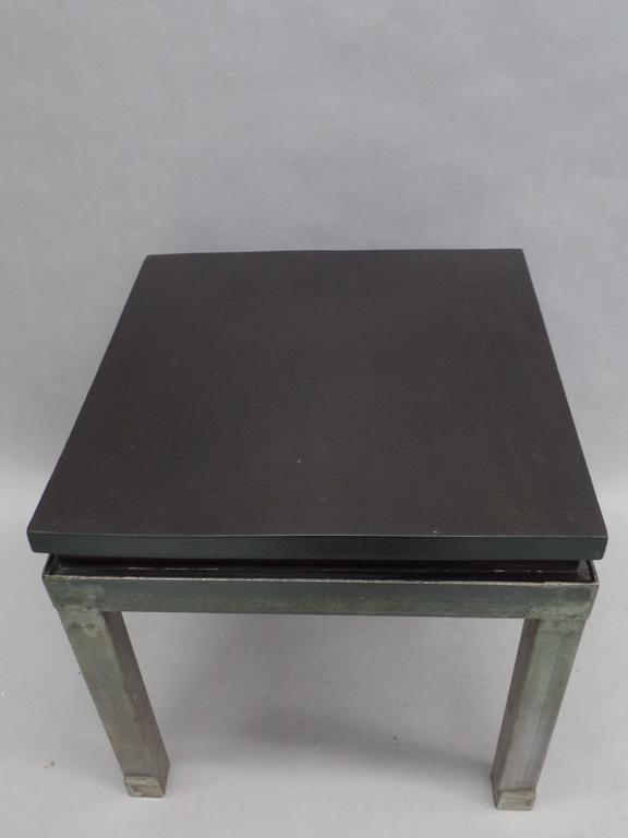 Pair of French Modern Craftsman Steel and Mahogany Benches or Side Tables, 1930 5
