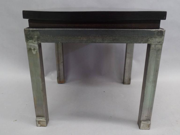 Pair of French 1930s Steel and Mahogany Benches or Side Tables 3