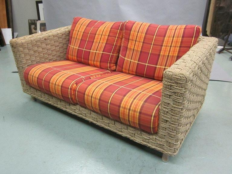 french mid century modern rope sofa attributed to adrien audoux and
