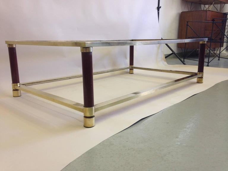 Large French Solid Brass Double Level Coffee Table Attributed to Maison Jansen 2