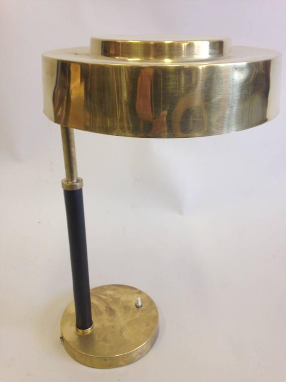 English 2 Mid-Century Modern Brass & Leather Marine Desk / Table Lamps, England, 1930 For Sale