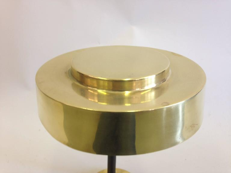 2 Mid-Century Modern Brass & Leather Marine Desk / Table Lamps, England, 1930 For Sale 2
