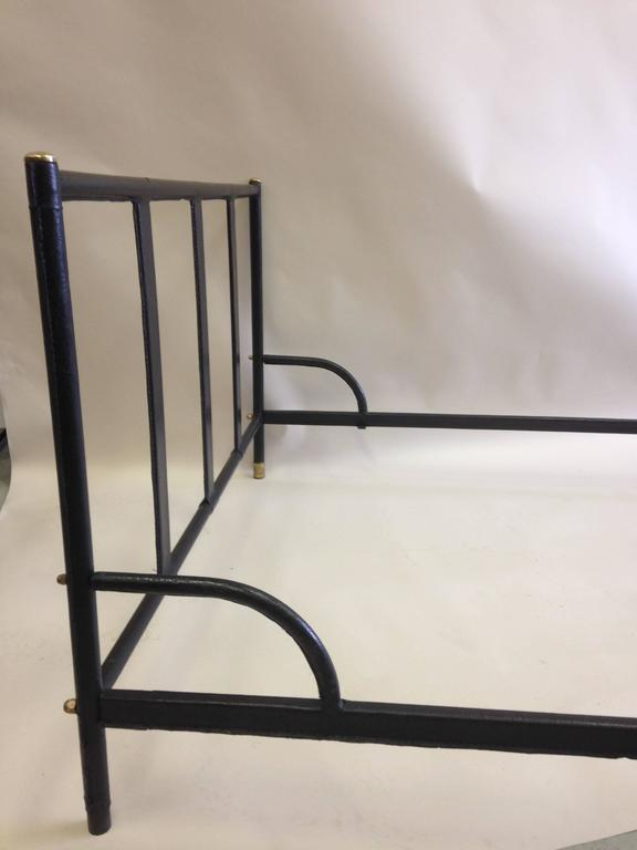 French Mid-Century Modern Hand Stitched Black Leather Bed by Jacques Adnet, 1955 For Sale 2