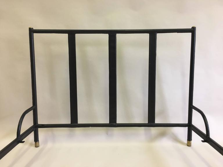 20th Century French Mid-Century Modern Hand Stitched Black Leather Bed by Jacques Adnet, 1955 For Sale