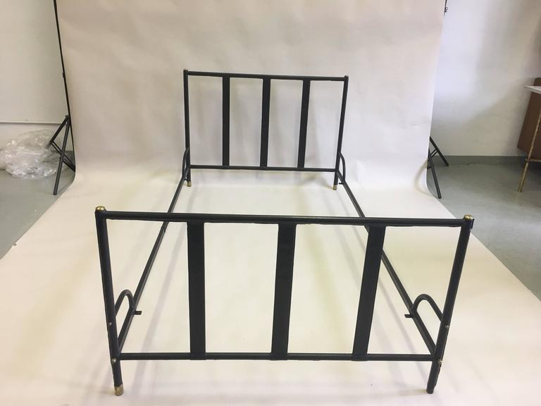 French Mid-Century Modern Hand Stitched Black Leather Bed by Jacques Adnet, 1955 In Good Condition For Sale In New York, NY