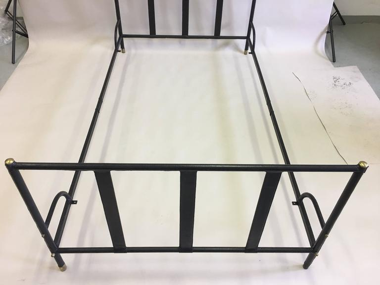 French Mid-Century Modern Hand Stitched Black Leather Bed by Jacques Adnet, 1955 For Sale 1