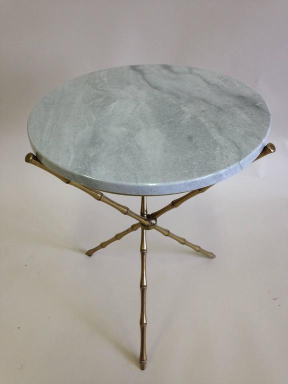 Pair of Brass Faux Bamboo and Marble Side Tables by Maison Baguès, France 4
