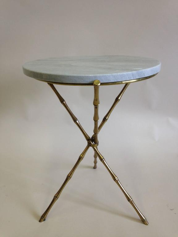 Pair of Brass Faux Bamboo and Marble Side Tables by Maison Baguès, France 6