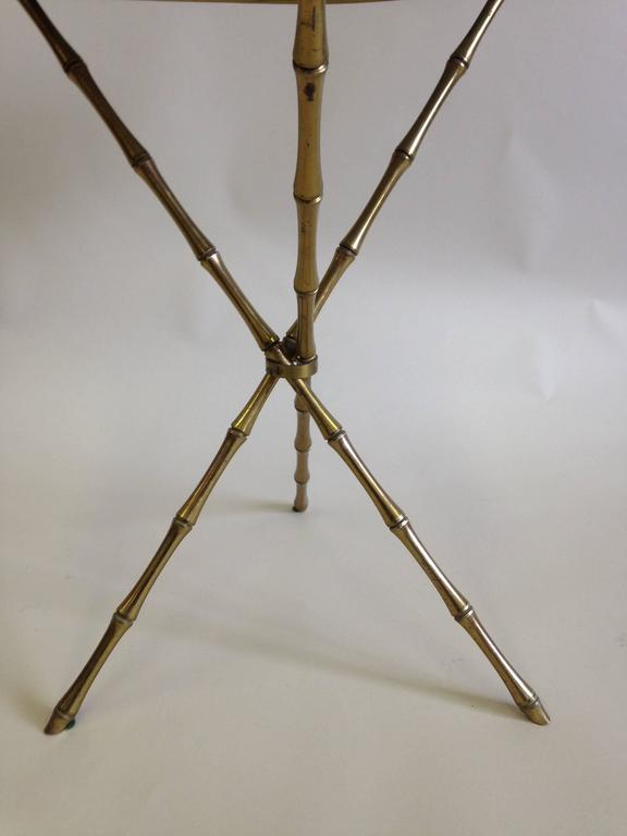 Pair of Brass Faux Bamboo and Marble Side Tables by Maison Baguès, France 7