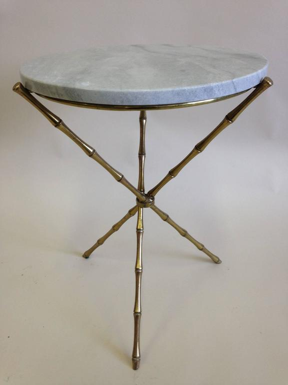 Pair of Brass Faux Bamboo and Marble Side Tables by Maison Baguès, France 3