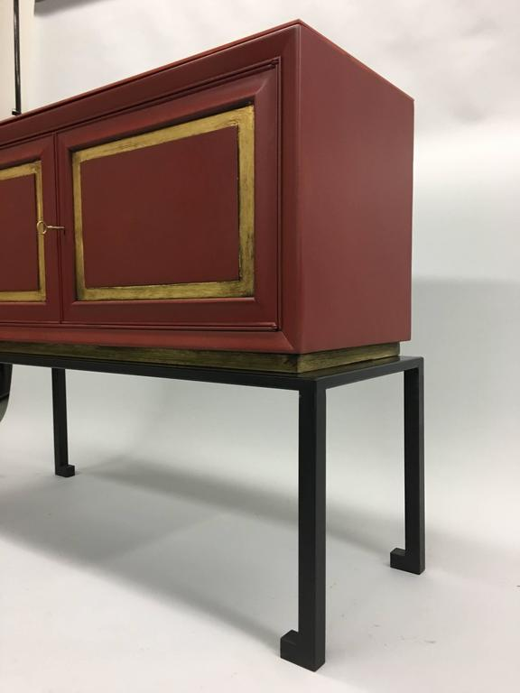 two french mid century red lacquer sideboards or consoles by maison ramsay 1940 for sale at 1stdibs. Black Bedroom Furniture Sets. Home Design Ideas