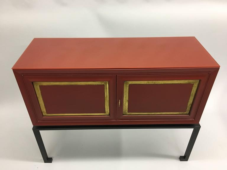 Mid-Century Modern Two French Mid-Century Red Lacquer Sideboards or Consoles by Maison Ramsay, 1940 For Sale