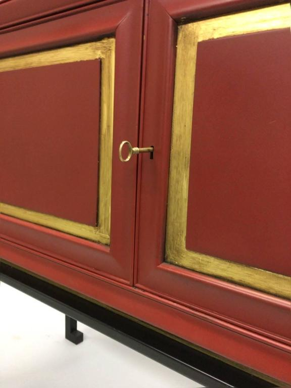 Two French Mid-Century Red Lacquer Sideboards or Consoles by Maison Ramsay, 1940 For Sale 2
