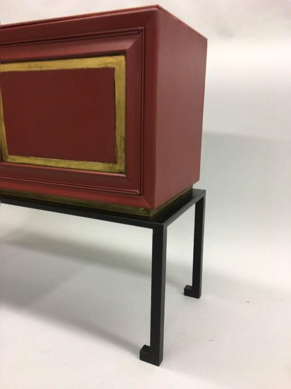 20th Century Two French Mid-Century Red Lacquer Sideboards or Consoles by Maison Ramsay, 1940 For Sale