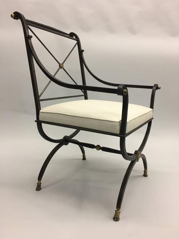 Mid-Century Modern French Partially Gilt Wrought Iron Armchair or Lounge Chair by Gilbert Poillerat For Sale