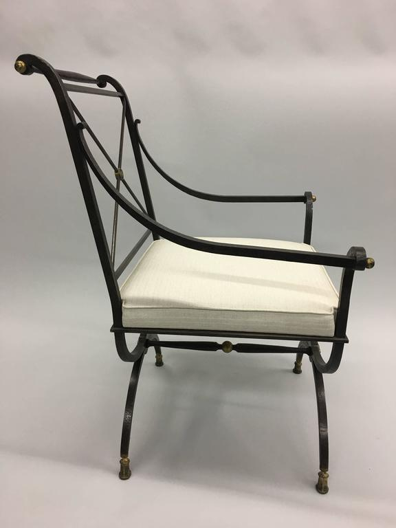 French Partially Gilt Wrought Iron Armchair or Lounge Chair by Gilbert Poillerat In Good Condition For Sale In New York, NY