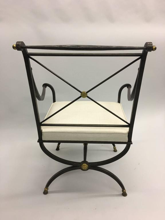 20th Century French Partially Gilt Wrought Iron Armchair or Lounge Chair by Gilbert Poillerat For Sale