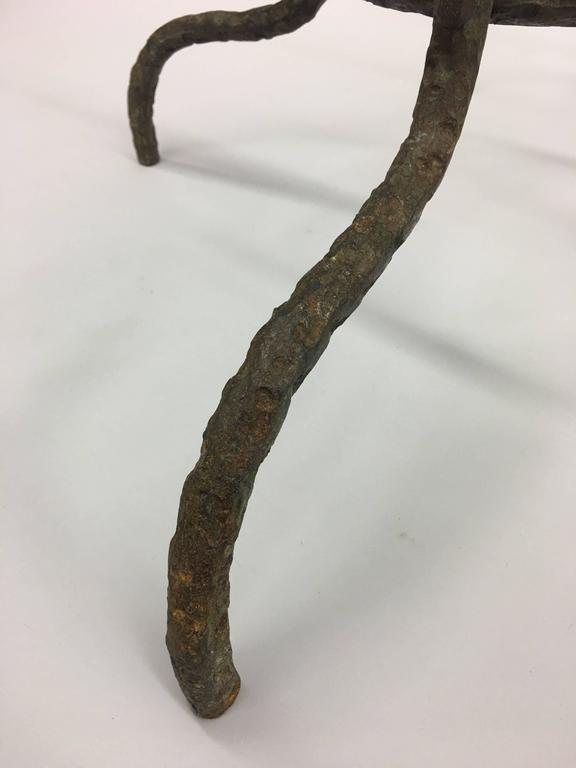 French Mid-Century Hammered Iron / Bronze Coffee Table, Style Giacometti For Sale 3