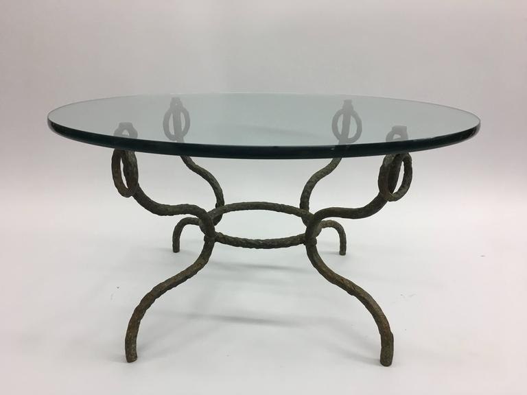 Mid-Century Modern French Mid-Century Hammered Iron / Bronze Coffee Table, Style Giacometti For Sale