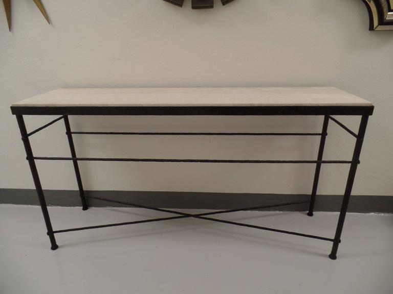 French Mid-Century Modern Style Hand-Hammered Iron Console, Manner of Giacometti For Sale 6