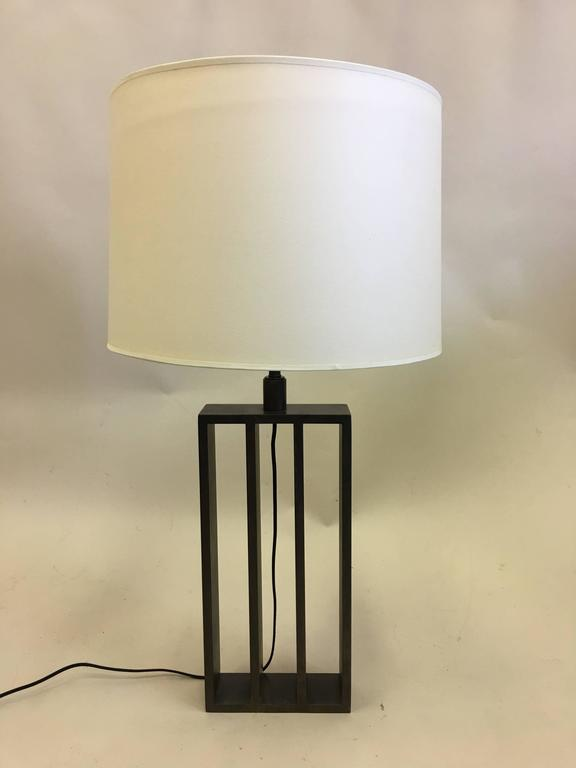 Mid-Century Modern Pair of French Wrought Iron Minimalist Table Lamps in Spirit of Jacques Quinet For Sale