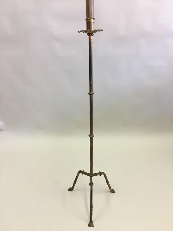 Mid-Century Modern Pair of French Mid-Century Gilt Wrought Iron Floor Lamps, circa 1940 For Sale