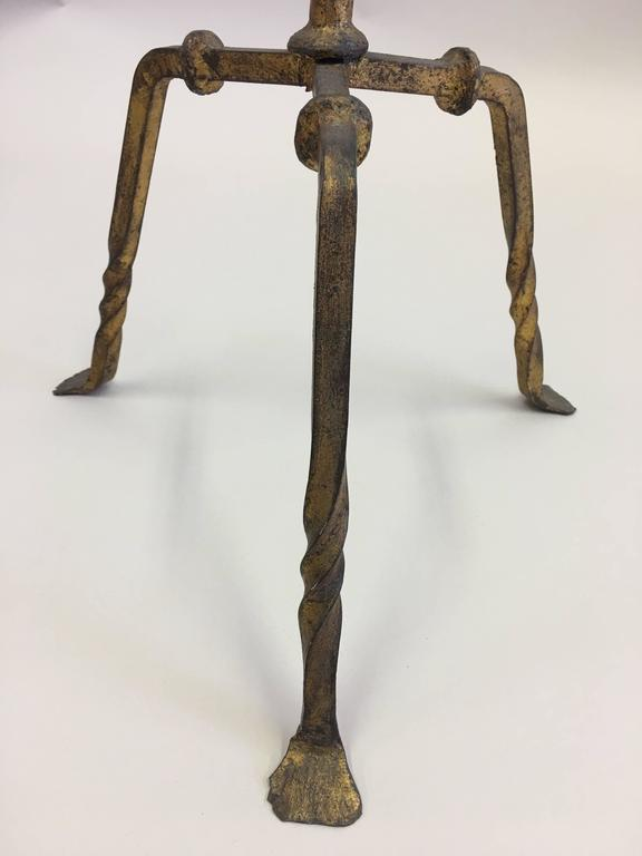 20th Century Pair of French Mid-Century Gilt Wrought Iron Floor Lamps, circa 1940 For Sale