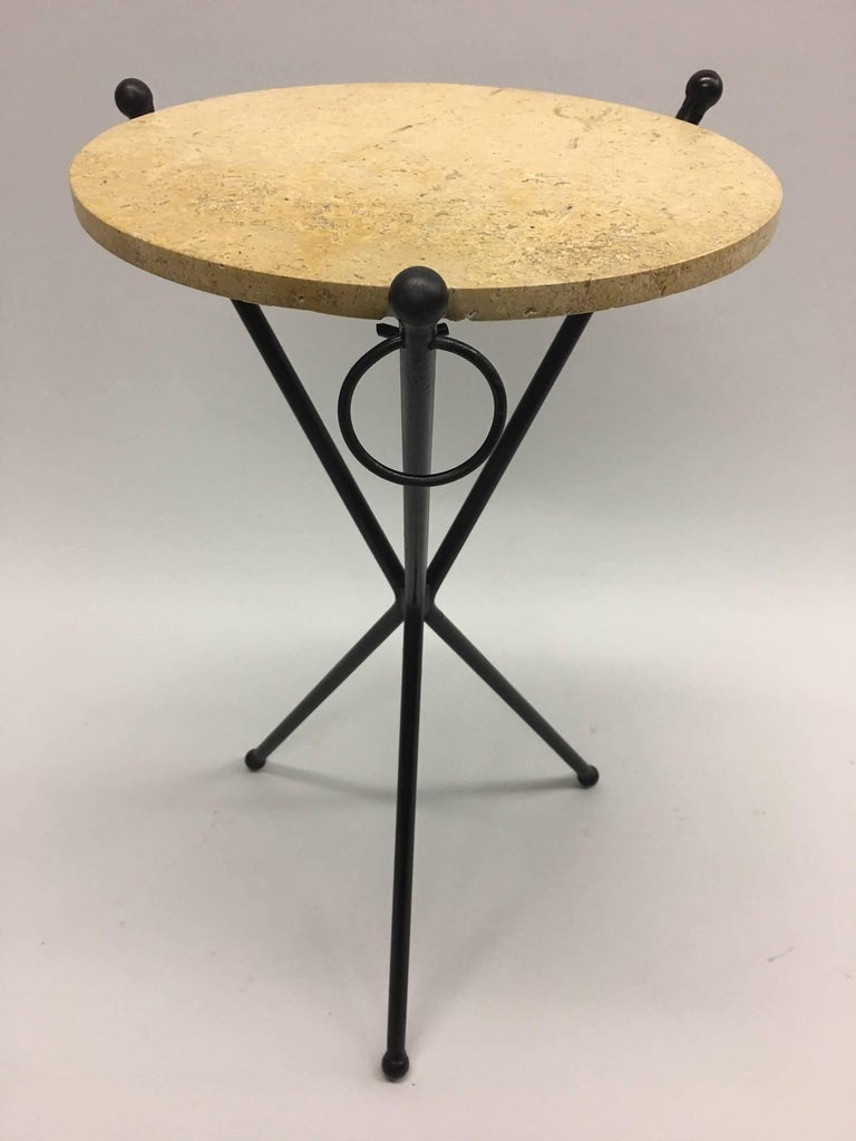 Two French Mid-Century Modern Neoclassical Side Tables, Style Jean Michel Frank In Good Condition For Sale In New York, NY