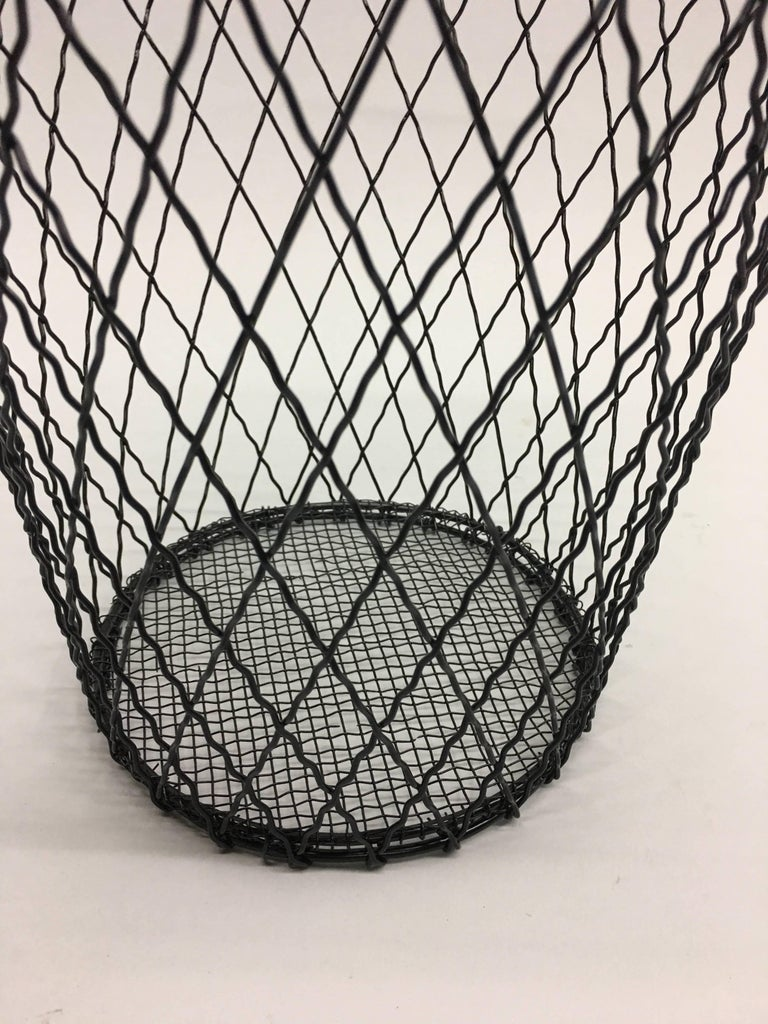 Two French Mid-Century Modern Wire Waste Baskets, Jacques Adnet For Sale 3
