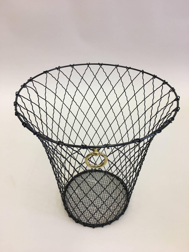 Two French Mid-Century Modern Wire Waste Baskets, Jacques Adnet In Good Condition For Sale In New York, NY