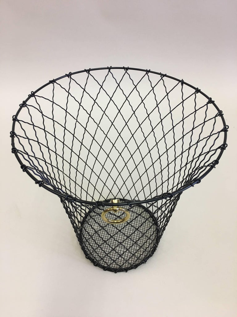 20th Century Two French Mid-Century Modern Wire Waste Baskets, Jacques Adnet For Sale