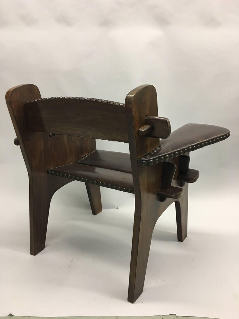 Pair of Italian Early Modern / Futurist Lounge Chairs, Giacomo Balla Attributed For Sale 2