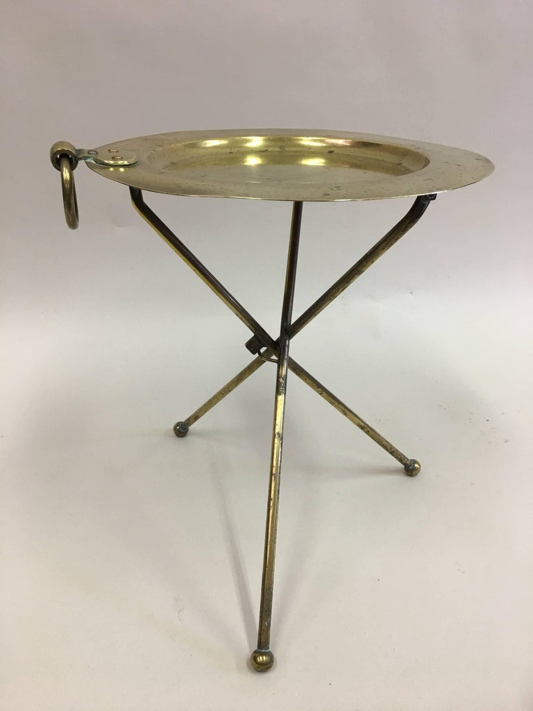20th Century French Mid-Century Modern Neoclassical Solid Brass Guéridon or Side Table For Sale