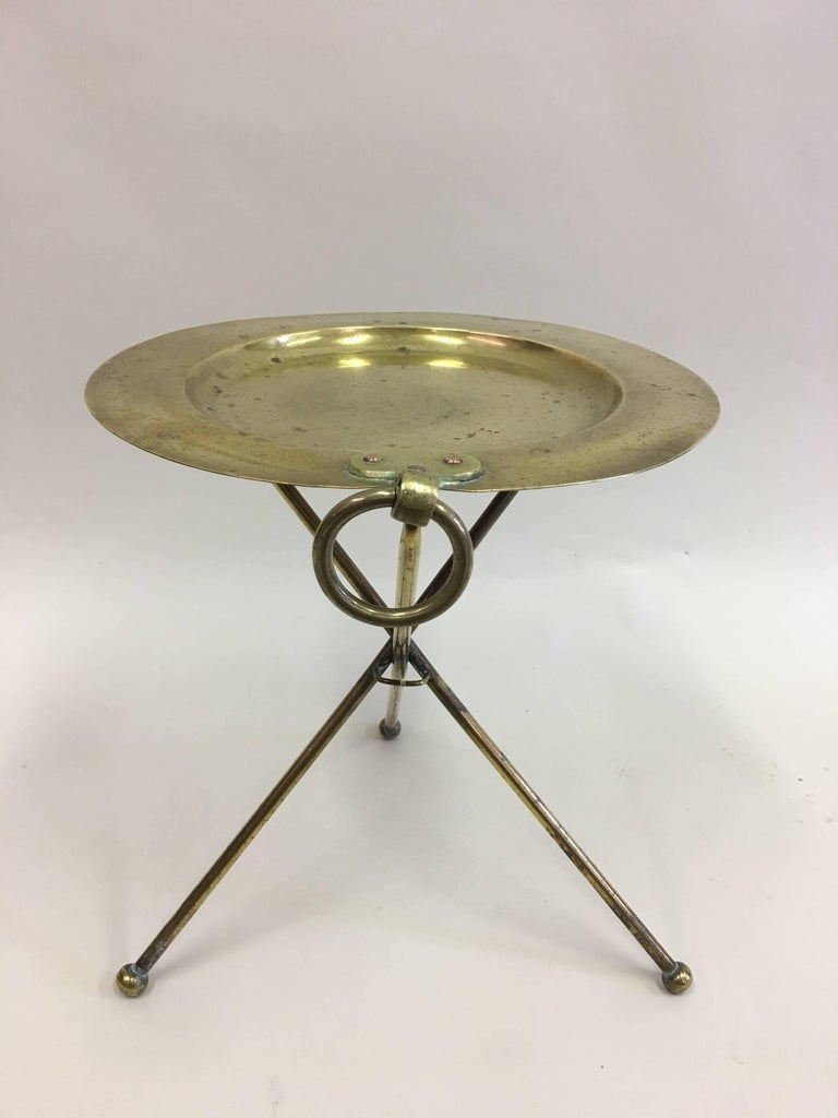 French Mid-Century Modern Neoclassical Solid Brass Guéridon or Side Table In Good Condition For Sale In New York, NY