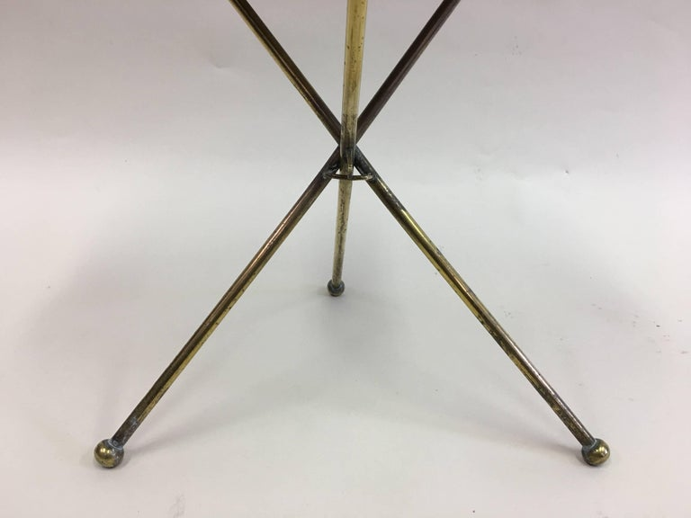 French Mid-Century Modern Neoclassical Solid Brass Guéridon or Side Table For Sale 2