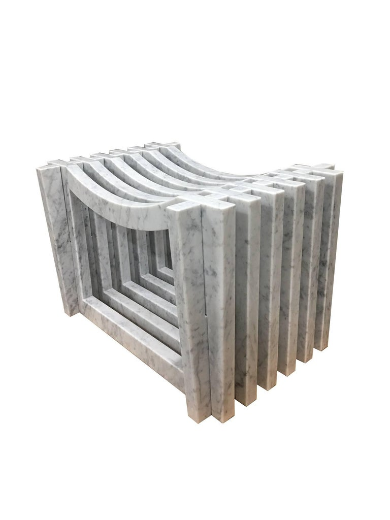 Two Italian White Carrara Marble Benches or Stools by Massimo Mangiardi In Excellent Condition For Sale In New York, NY